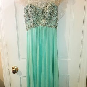Long Teal Strapless Prom Dress